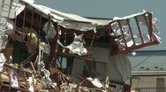 Japan Tsunami Aftermath - Building Ripped Apart In Kesennuma City Stock Footage