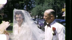 BEAUTIFUL Bride PROUD FATHER Before Wedding 1950s Vintage Film Home Movie 1024 Stock Footage