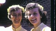 Stock Video Footage of BRIDESMAID SISTERS Twins Wedding HATS 1950s Vintage Film Retro Home Movie 1023