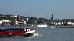 Barge with coal Rudesheim Ruedesheim am Rhein Rhine valley Stock Footage