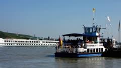 Ferry boat Bingen am Rhein Rhine valley - stock footage