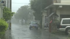 Hurricane Force Winds Tear Through Streets Of Japanese Town Stock Footage