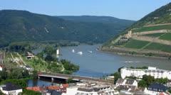 Mauseturm cargo Cruise Bingen Rudesheim Ruedesheim Rhine valley Stock Footage