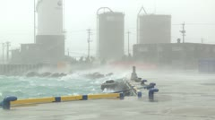 Storm Surge Waves In Port During Hurricane Stock Footage