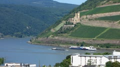 Barge Cruise tour boat at river Rhine Bingen Rudesheim Rhine valley Stock Footage