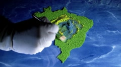 Brazil map and flag. Artist, Time lapse Stock Footage