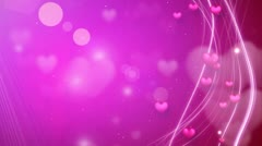 Lines and hearts pink romantic loop background Stock Footage