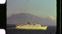 Cruise Ship Liner at Sea Travel Ocean Tropical 60s Vintage Film Home Movie 1032 Stock Footage