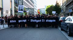 Stuttgart demonstration against project Stuttgart 21 Stock Footage