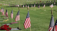 Punchbowl Cemetery flags, leis, and grave markers (pan) Stock Footage