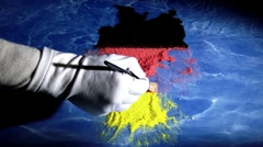 Germany map and flag. Artist,. Time lapse - stock footage