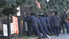 Demonstrators near parliament in Kyiv Stock Footage