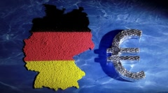Germany map and euro symbol - stock footage