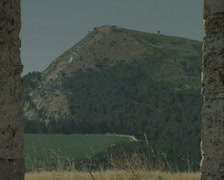 View of hill from ruins Stock Footage