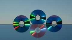 0103 dvd discs on mirror and soap bubbles Stock Footage