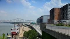 Interstate 64 along Ohio River in downtown Louisville, Kentucky Stock Footage