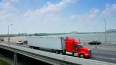 Interstate 64 along Ohio River in downtown Louisville, Kentucky - stock footage