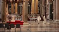 Priests in church Stock Footage