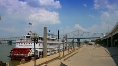 Riverboat in dock at Waterfront Park along Ohio River in Louisville, Kentucky Stock Footage