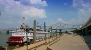 Stock Video Footage of Riverboat in dock at Waterfront Park along Ohio River in Louisville, Kentucky