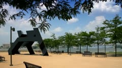 Waterfront Park along Ohio River in downtown Louisville, Kentucky Stock Footage