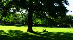 Germany Stuttgart castle royal garden park people relax Stock Footage