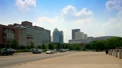 Downtown Louisville, Kentucky seen from Waterfront Park area Stock Footage