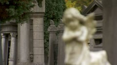 A lonely angel watching over a grave. Stock Footage