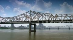 Louisville Kentucky downtown skyline seen from Ohio River Stock Footage