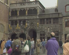 Crowd in front of Bruges Basilica of the Holy Blood Stock Footage