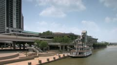 Louisville Kentucky riverboat docked along Riverfront Park in downtown Stock Footage