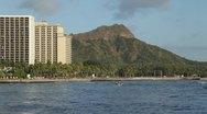 Stock Video Footage of Waikiki high rises and Diamond Head, Oahu, Hawaii