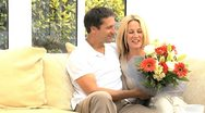 Attractive Female Receiving Anniversary Flowers Stock Footage