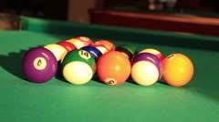 Eight-ball pool (opening break shot) Stock Footage