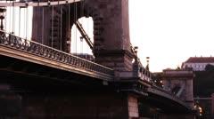 Chain Bridge Timelapse Budapest 06 zoom Stock Footage