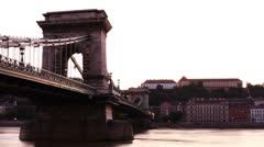 Chain Bridge Timelapse Budapest 07 pan - stock footage