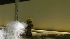 Open water street yellow fire hydrant gushing water + audio 2 Stock Footage