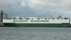 Stock Video Footage of Wallenius Wilhelmsen Cargo Ship at Docks