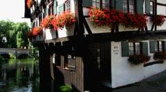 Ulm Hotel Schieffes Haus in fischerviertel fischerdorf Stock Footage