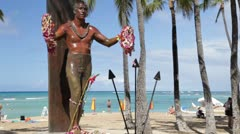 Stock Video Footage of Duke Kahanamoku Statue, Waikiki, Oahu (tilt)