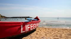 Lifeguard boat on a beach - stock footage