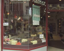 Exterior view of chocolate shop Stock Footage