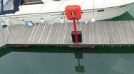 Moored Boat By Boardwalk Stock Footage