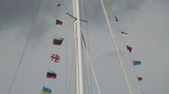 Flags on a Yacht Mast Stock Footage
