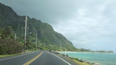 Stock Video Footage of Kamehameha Highway driving along Northeast Oahu shore