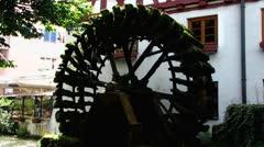 Ulm fischerviertel fischerdorf fishermen district water mill wheel Stock Footage