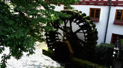 Ulm fischerviertel fischerdorf fishermen district water mill wheel Stock Footage