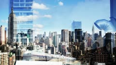 New york skyline manhattan NYC ny Stock Footage