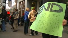 Protest, Occupy (Wall-Street) Calgary #21, end corporate welfare signs - stock footage