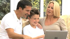 Caucasian Family   Communicating Via Online Webchat Stock Footage